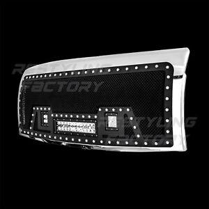 09-14-Ford-F150-Rivet-Black-SS-Mesh-Grille-Chrome-Shell-2x-LED-1x-LED-Light-Bar