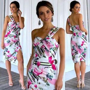 Dress-Size-14-One-Shoulder-Brand-New-Floral-Slit