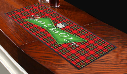 Personalised Green Beer Label Red Tartan Design Bar Runner Pub Club Home Party