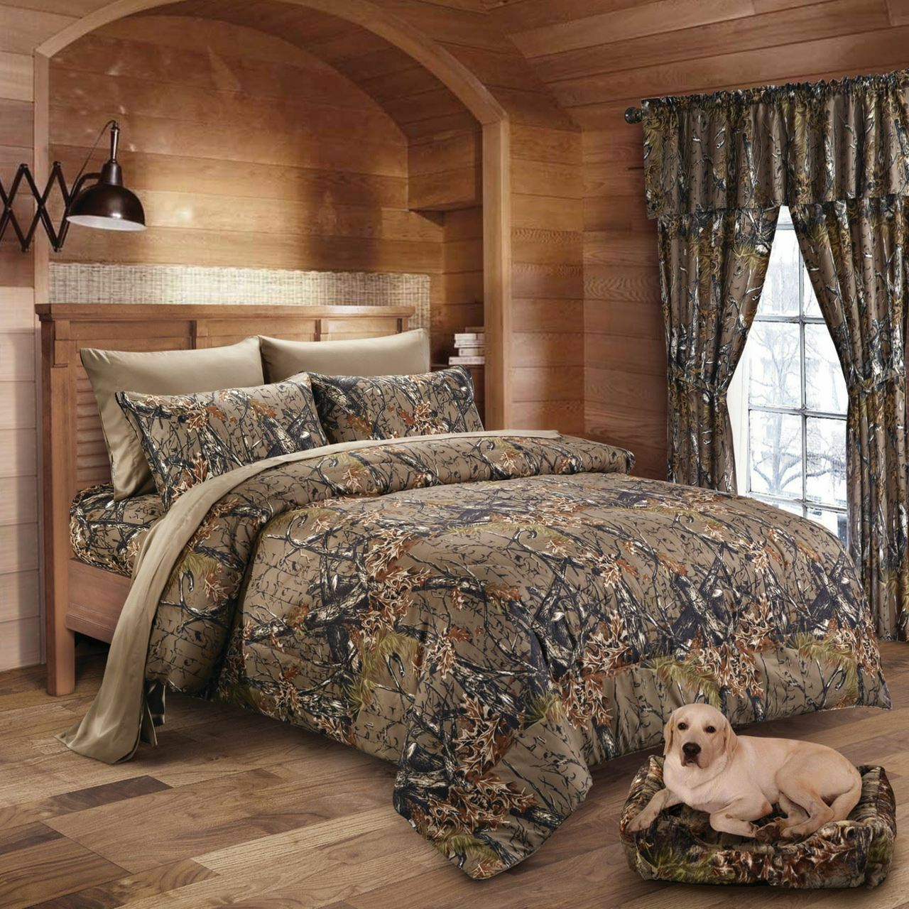 17 PC BROWN CAMO KING SIZE SET   COMFORTER SHEET CURTAIN CAMOUFLAGE BEDDING