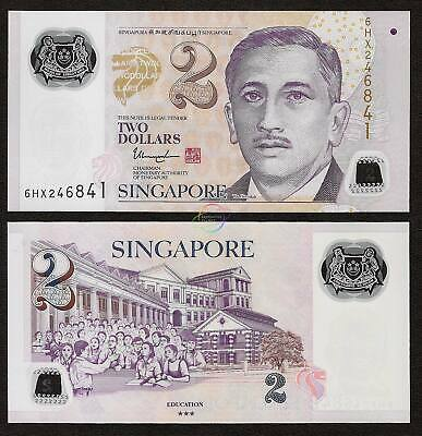 SINGAPORE 2 Dollars w//3 Solid Star 2019 P-46 Polymer UNC Uncirculated