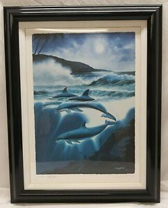 """Robert Wyland Roy Tabora Hand Signed Limited Edition Litho """"Moonlit Dolphins"""""""