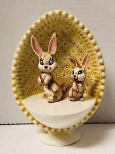 Vintage Ceramic Easter Egg On Pedestal Diorama (2) Bunny Rabbit Figurines