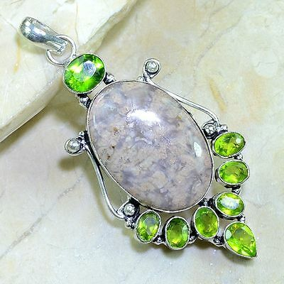 "HUGE PERIDOT+AGATE GEMSTONE STERLING SILVER PENDANT 3"", 21 GRAMS FREE SHIPPING"