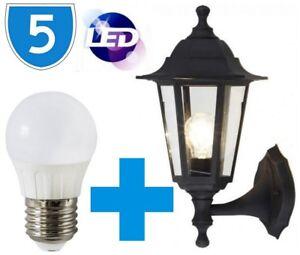 5X-Montaje-Pared-E27-Led-Externo-Porche-5W-Completo-Farol-IP44-Jardin-6400K-Luz