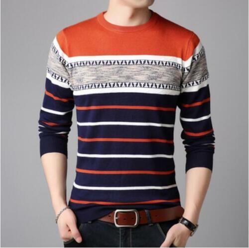 Men Fashion T-shirt Knit Sweater Casual Shirt Tops Tee Shirt Stripe Knitted