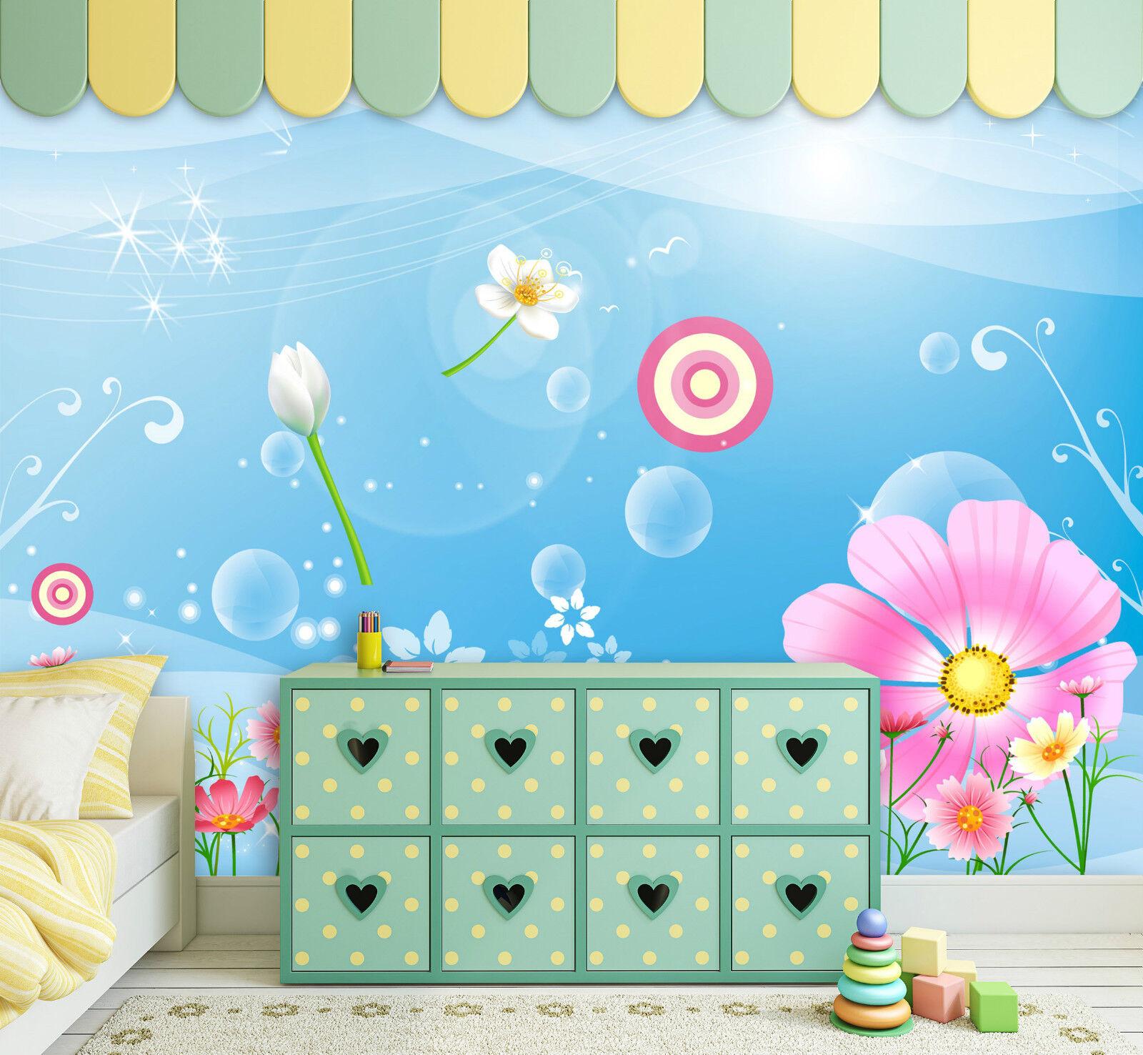 3D Floraison..Beau Photo Papier Peint en Autocollant Murale Plafond Chambre Art