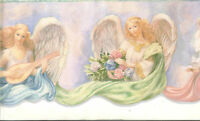 Heavenly Angels With Pastel Colors Sculptured Wallpaper Border