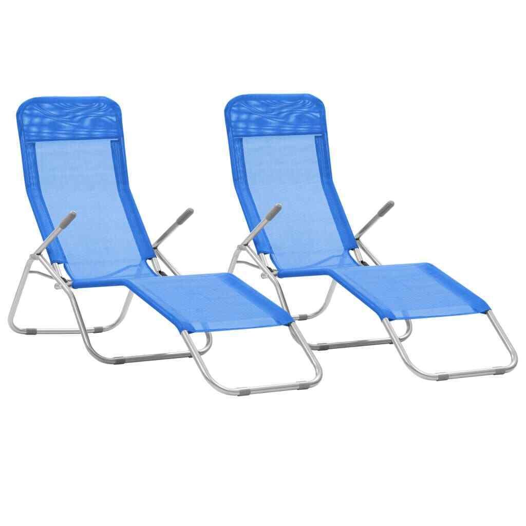 VidaXL 2x Tumbonas Plegable Basculante Textileno Azul Sofá Cama Asiento Jardín