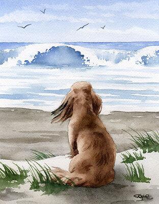 DACHSHUND AT THE BEACH Watercolor Painting 11 x 14 Art Print by Artist DJR
