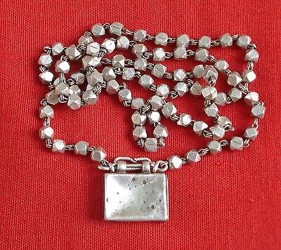 vintage antique tribal old silver necklace beads chain pendant rajasthan VTJ EHS