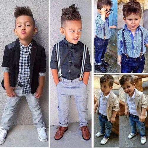 2//3Pcs Kids Boys Gentleman Outfit Dress Shirt Top Blazer Coat Pants Party 1-8Y