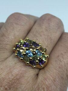 Vintage-Golden-Gemstone-Ring-925-Sterling-Argent-Taille-9