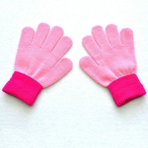 Children Kid Boy Girl Winter Gloves Colorblock Full Finger Warm Knit Gloves UK