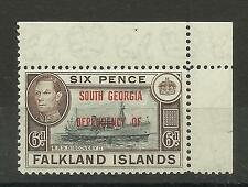 Falklands 1944 South Georgia overprint, Sg B6, 6d Black & Brown, UnM/M [160]