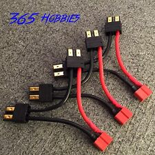 """QTY-(3) 2-Male Traxxas TRX to 1-Female Deans Series 2.5"""" Connector Adapter LiPO"""