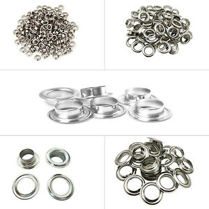 100pcs-Silber-Osen-Tuelle-Unterlegscheiben-Messing-Rostfrei-Leder-Handarbeiten