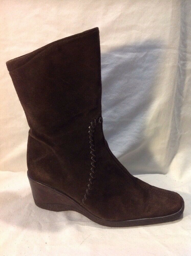 Aquatalia Brown Mid Calf Suede Boots Size 5