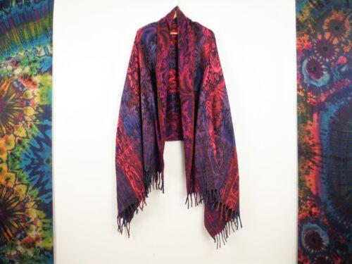 Oversized Blanket Shawl Indian Flower Design Scarf Boho Throw Soft Winter Wrap