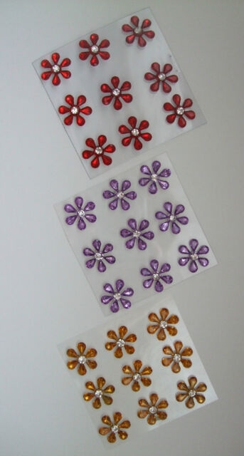 3 pks of Diamante Flower Embellishments /card making Red -Yellow-Purple total 27