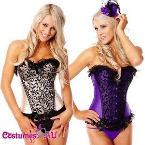 New-Burlesque-Satin-Corset-Lace-up-Bustier-g-string-tutu-skirt