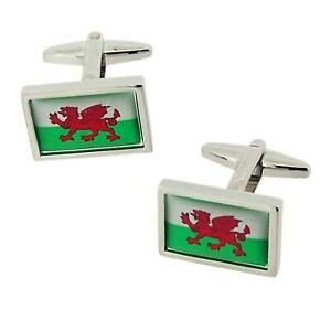 Jakob Strauss Uomo Sivertone Welsh Bandiera Galles Cymru Oblungo Metallo Gemelli