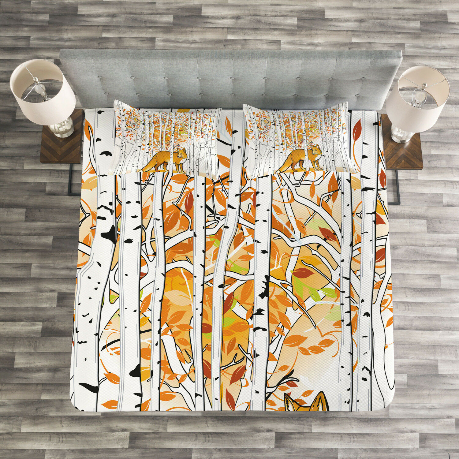 Hunting Quilted Bedspread & Pillow Shams Set, Fox Autumn Forest Print