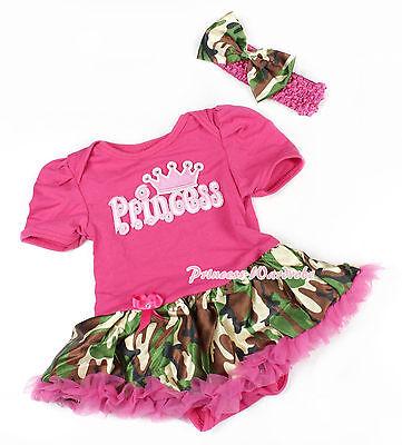 Hot Pink Bodysuit Pink Princess Jumpsuit Romper Camo Baby Girl Dress  NB-12Month | eBay
