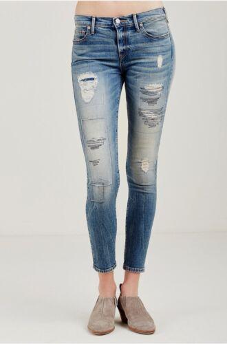 Jeans pour indigo skinny repoussé super avec mi taille Halle haute Wdaav110c Religion femmes True qZ15CC