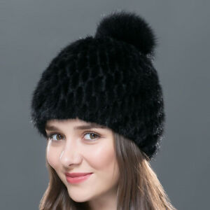 f865581f1ad5a1 Women Winter Knitted Mink Fur Beanies Cap With Fox Fur Pom Poms Warm ...