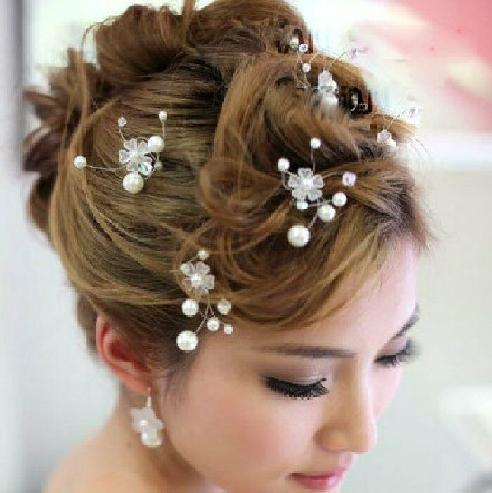 2 Pins Flower Pearl Wedding Rhinestone Tiara Diadem White bride hair