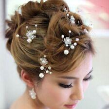 2 Haarnadeln Blume Perlen Hochzeit Strass Tiara Diadem WEISS Braut Haarschmuck