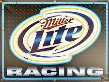 MILLER LITE RACING BEER DIGITAL EFFECT NEON STYLE RACE SHOP BANNER SIGN ART 4X3