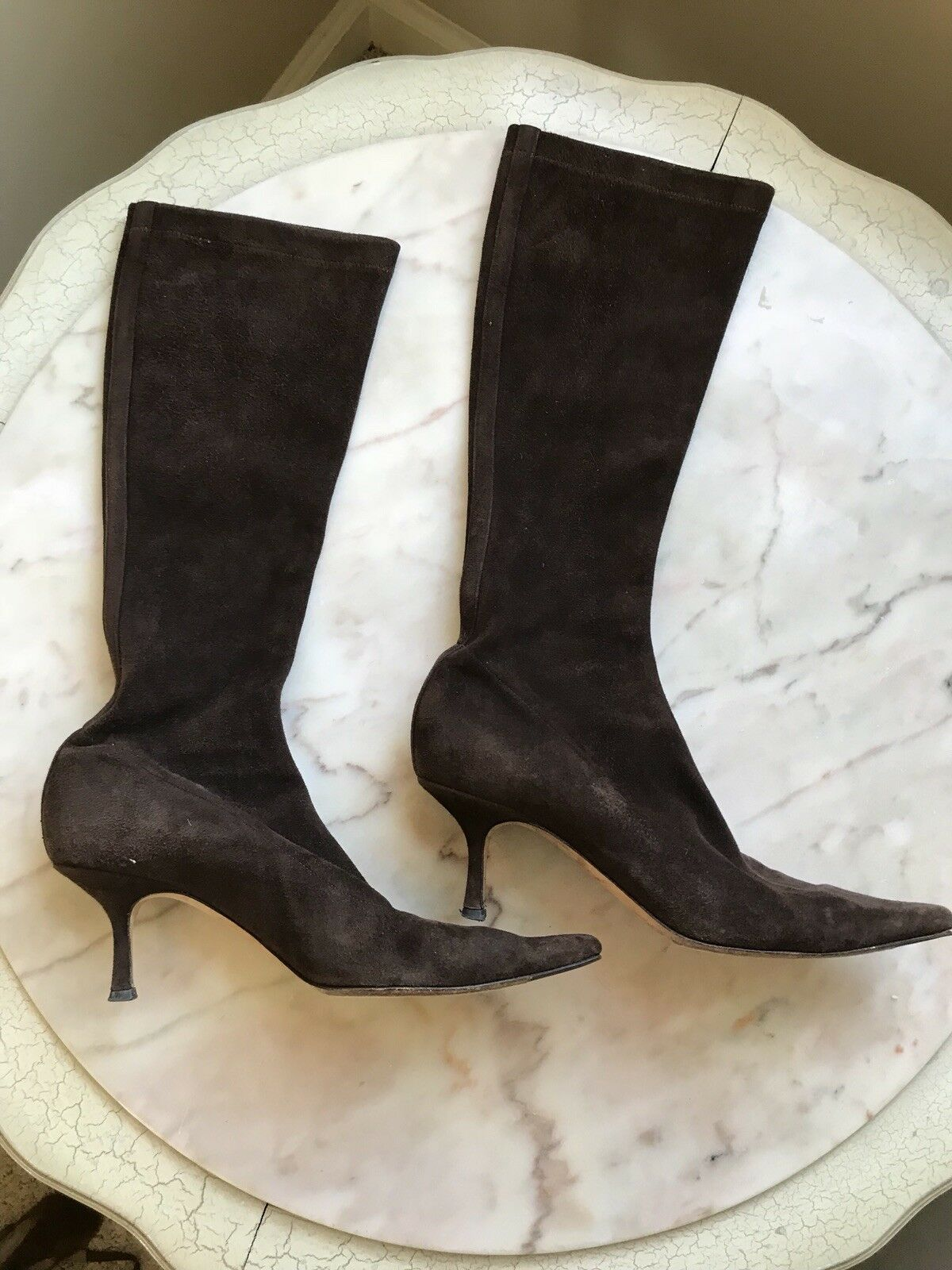Jimmy Choo Brown Suede Pointed Toe Boots Size 38