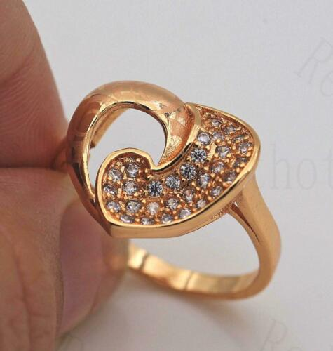 18K Gold Filled Claw Ring Zircon Rotate Heart Gemstone Engagement Size 7-9 SW