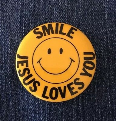 Vintage Pinback SMILE JESUS LOVES YOU Button Religious Pin MADE IN ...