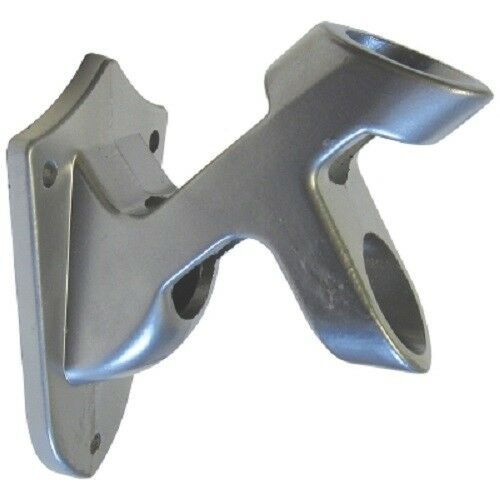 """Silver Flagpole Bracket 2 Position Aluminum Wall Mount fits 1/"""" Pole with screws"""