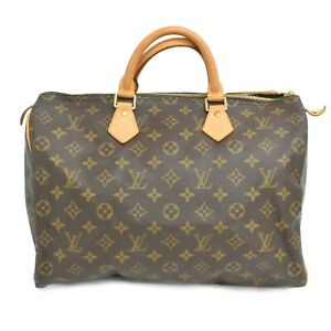 Louis-Vuitton-Speedy-35-M41524-Monogram-Boston-Satchel-Handbag-Bag-Brown-Gold