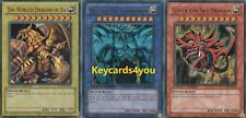 YUGIOH  3 X EGYPTIAN GOD CARDS, RA, OBELISK &  SKY DRAGON LC01  ULTRA RARES!!