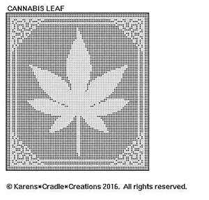 Details about CANNABIS marijuana LEAF - FILET CROCHET Pattern