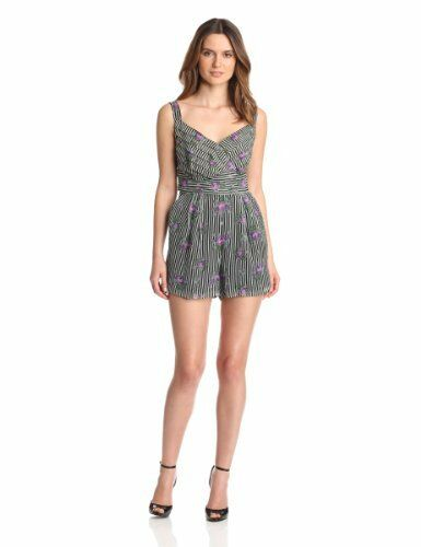 Anna Sui Women's Cabbage pink Print Crinkle And pinkbud Stripe Romper Ret  434