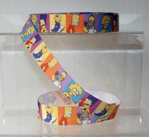 "7//8/"" wide 1 2 5m Simpsons Printed Grosgrain Ribbon 22mm"