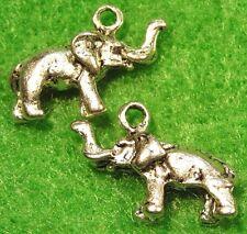 50Pcs. WHOLESALE Tibetan Silver 3D ELEPHANT Charms Pendants Earring Drops Q0413