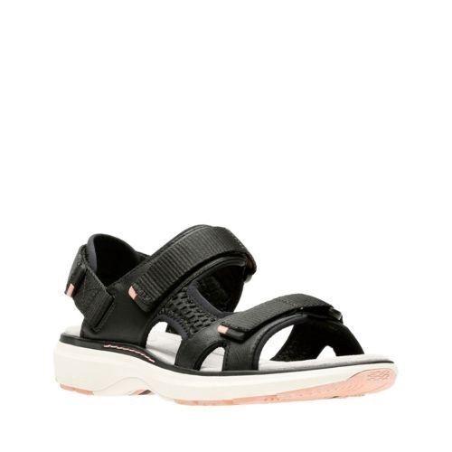 Clarks Un Roam Step Womens Black Lightweight Touch Fasten Wedge Sandals Size 7UK