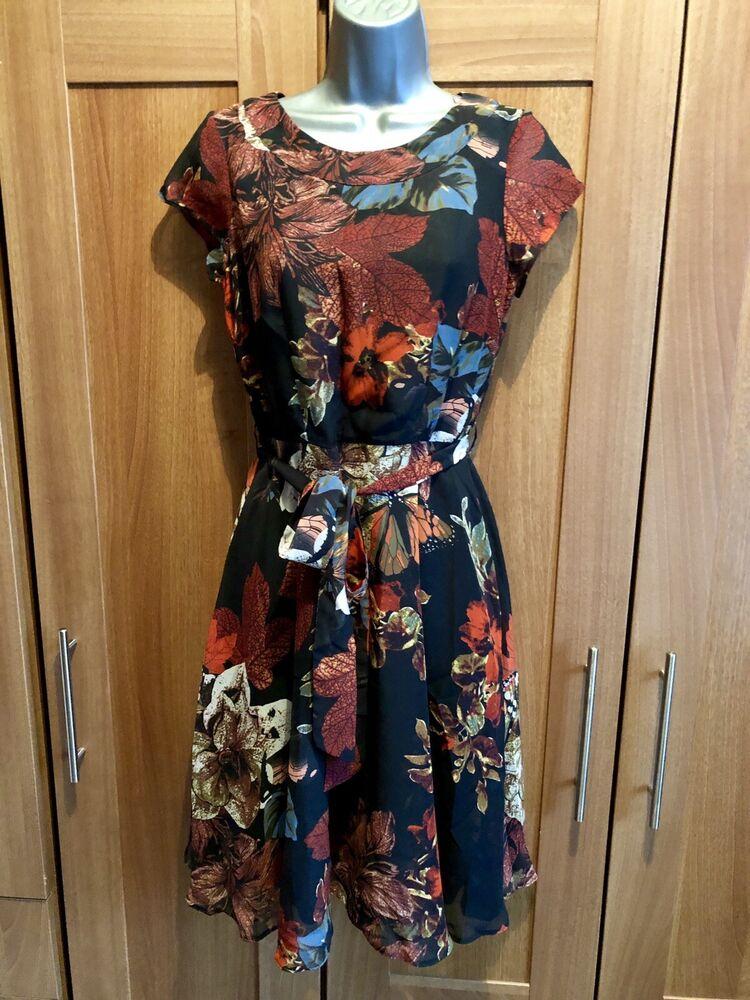 Ordonné Bnwt Wallis Floral Print Dress Size 8 Ferme En Structure