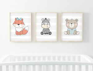 Animal Prints for Baby Boys or Girls Room Nursery Pictures Wall Art Decor Unisex