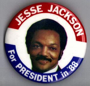 "1988 Jesse Jackson 2-1/2"" / (D) Presidential Hopeful Campaign Button (Pin 01)"