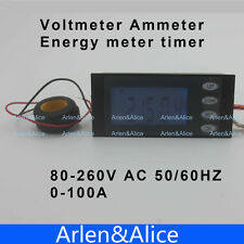 LCD 5IN1 Voltage current active power energy time meter blue backlight 100A