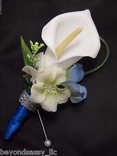Royal Blue White Calla Lily Silk Flower Wedding Prom Boutonniere Groom Groomsmen