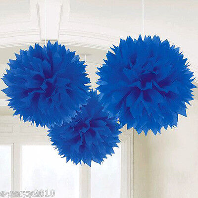 Large Fluffy Royal Blue Pom Pom Decorations 3 Birthday Party Supplies Hanging 13051326210 Ebay